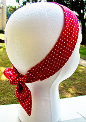 Fabric Headband: Red w/White Polka Dots