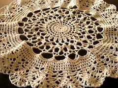 lace(0.0), decor(0.0), linens(0.0), tablecloth(0.0), art(1.0), pattern(1.0), textile(1.0), doily(1.0), crochet(1.0), circle(1.0),
