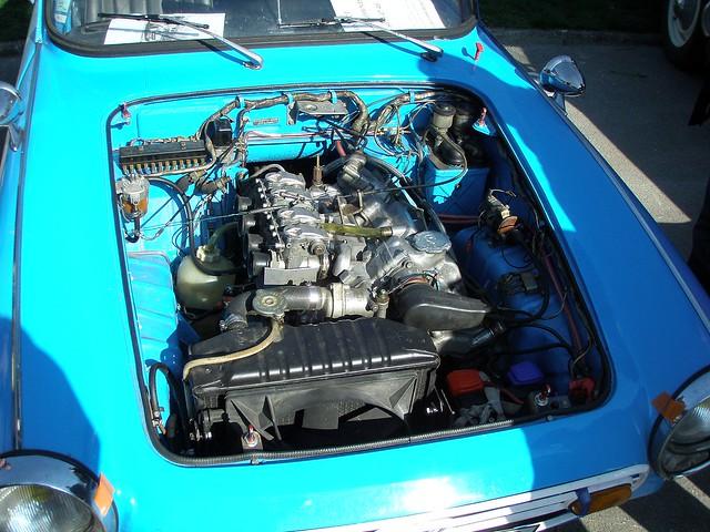 Honda S800 bleue moteur