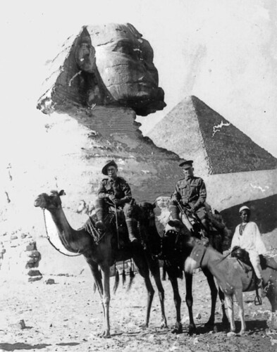 Australian soldiers on camels in front of the Sphinx,  Egypt,  1915