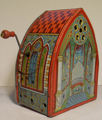Vintage 1940s Crank Wind Up Tin Metal Toy Church Organ by Christian Montone