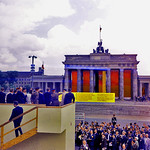 JFK receives agitprop approaching the Brandenburg Gate on 26th June 1963