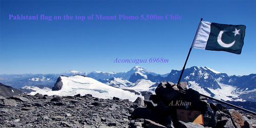 Pakistani flag on the top of Mount Plomo 5.500m Chile South America