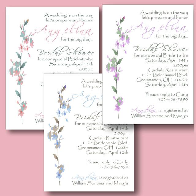 flowers petite pink purple blue personalized custom wedding bridal shower