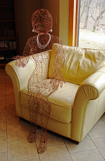 Copper Lady in Chair
