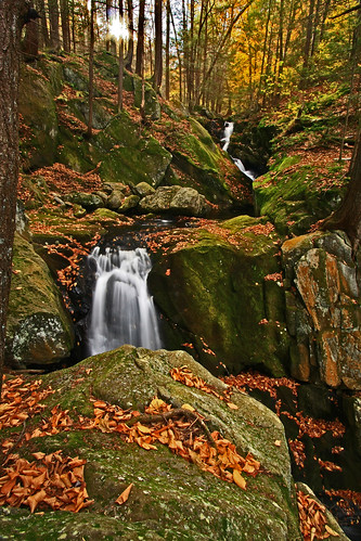 autumn fall leaves waterfall falls foliage goldminebrook chesterstateforest