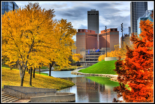 autumn trees lake fall water clouds stairs digital photoshop canon buildings reflections eos rebel nebraska cityscape fallcolors blues flags greens omaha yellows reds legacy changingcolors hdr pathway comment sincity xsi myhometown scyscrapers photomatrix mywinners miasbest daarklands legacyexcellence flickrvault trolledproud newgoldenseal