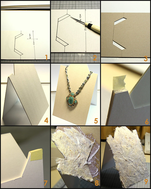 Tutorial for cardboard necklace stands