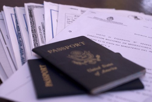 U.S. passports and residency paperwork for Argentina.