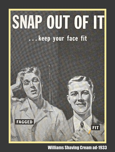 """Fagged"" or ""Fit""--shaving cream advertisement"