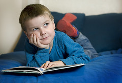 child, reading, homework, blue, person, portrait,