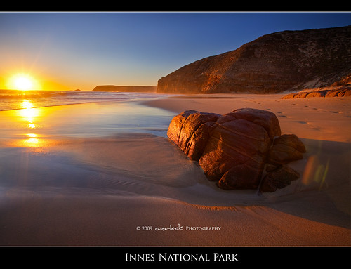 ocean park sunset reflection beach rock coast sand glow south australia national cape spencer peninsula hdr innes yorke