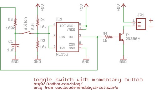 momentary button as on  off toggle using 555  u2013 todbot blog