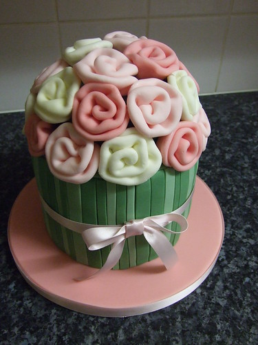 Fabric Rose Bouquet Cake
