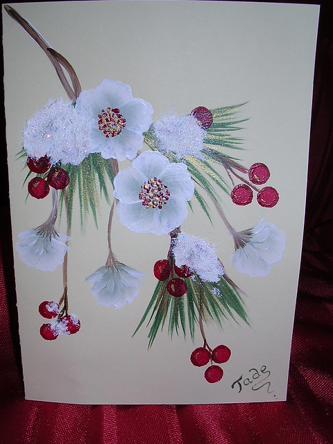 One stroke holly berries and pine needles christmas card for Painted christmas cards