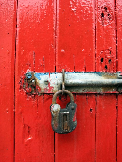 Lock and Bolt On Red Door