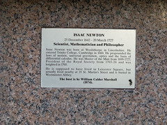 Photo of Isaac Newton brass plaque