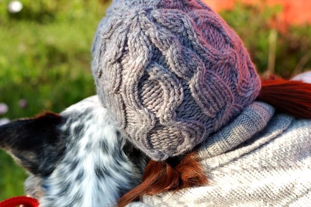 Handknit hand-dyed hat