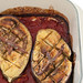 simplest baked aubergine (eggplant) with tomato & pesto