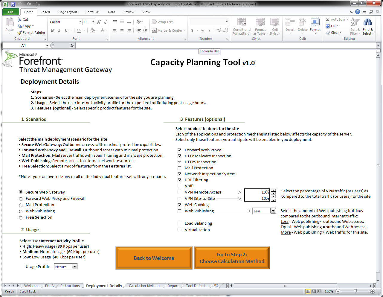 Forefront tmg capacity planning tool disponible sur for Ensuite planning tool