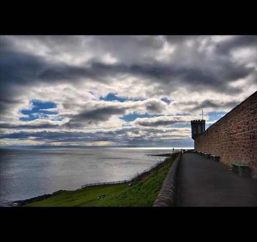 Alternate Turret View - Commanding Vista over Calm Sea - Scottish Coast