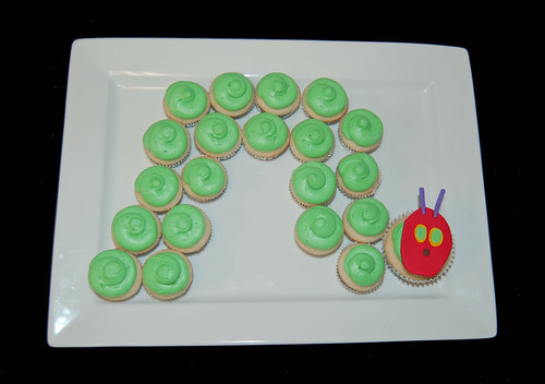 caterpillar mini cupcakes for a baby shower