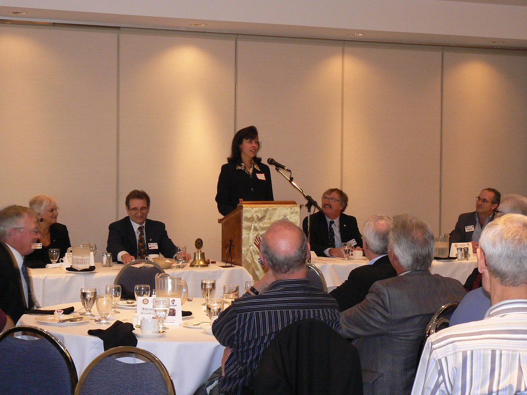 Consul General Laura Lochman speaks to the Calgary West Rotary Club