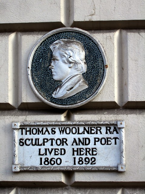 Thomas Woolner white plaque - Thomas Woolner RA  Sculptor and poet  lived here  1860 - 1892