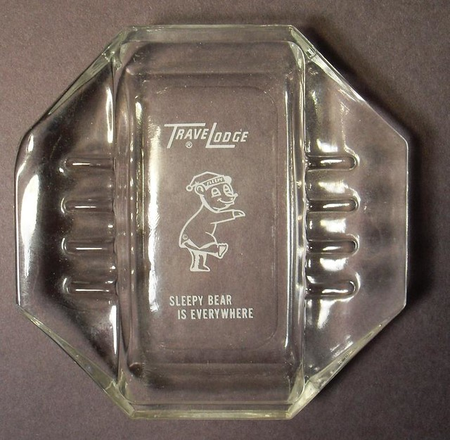 1960s Ashtray TRAVELODGE Hotel Vintage Glass Ash Tray