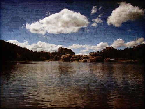 blue lake texture clouds southdakota blackhills landscape sylvanlake custerstatepark textured muffet texturized canonsx10is lesbrumes jennsaddiction nanceeart