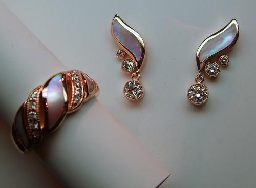 14K Rose Gold Diamond / MOP Earrings / 3