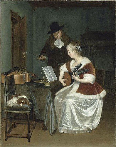 Gerard ter Borch, The Music Lesson.  Around 1670