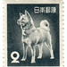 Japan postage stamp: akita dog