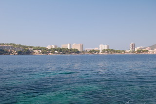 looking back to magaluf from a pedalo