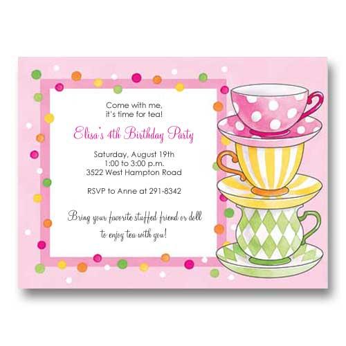 Kitchen Tea Invitation Templates Free Download: Pink Polka Dots Tea Party Birthday Invitations