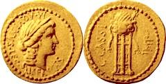 RRC 498/1 Aureus Cassius Liberty Tripod cauldron