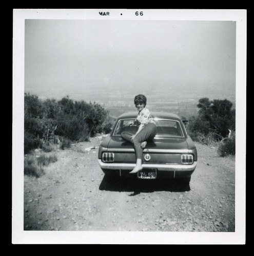 1966 MUSTANG FORD woman on hill 1960s automobile