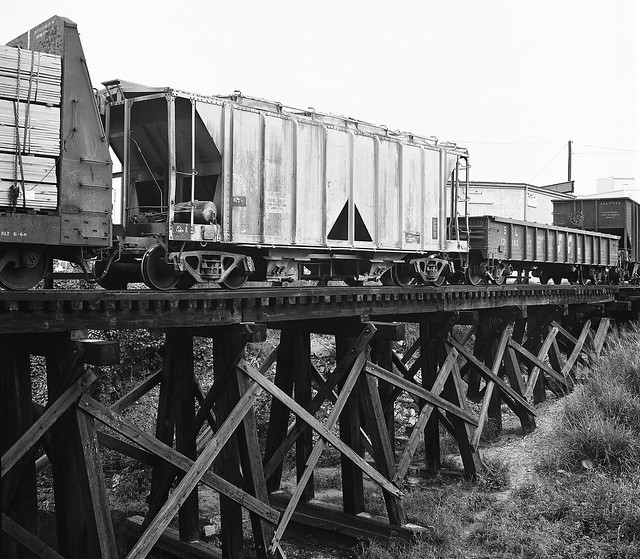SCL Wooden Railroad Trestle With Freight Cars In The Gas