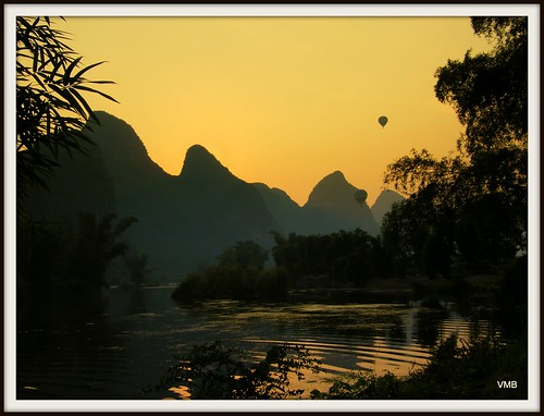 Hot air ballooons at sunset Yangshou China