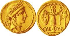 RRC 452/1 Aureus Pietas LII Gallic trophy axe