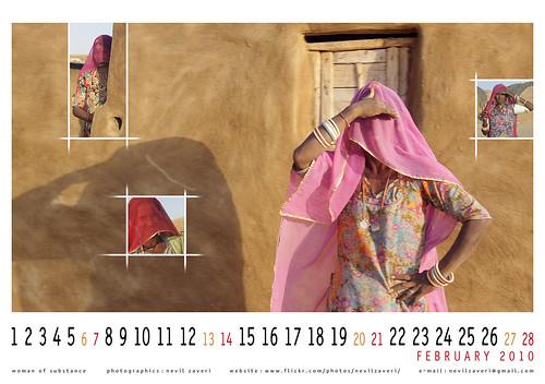 woman of substance, wallpaper calendar for february 2010