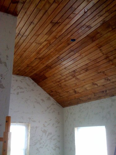 Wood ceiling 101 how to install tongue groove paneling for Wood floor and ceiling