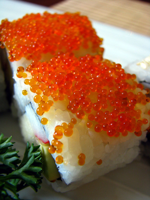 Sushi with salmon roe flickr photo sharing for Sushi fish eggs