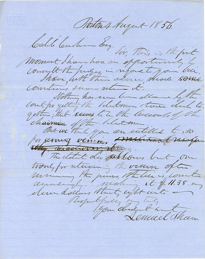 4 August 1856 Letter from Shaw to Cushman[?]