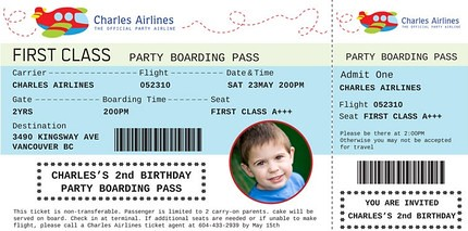 airplane train party boarding pass custom birthday invitation a