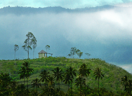 sky mountain flores nature indonesia landscape hill hut palmtree rositasoimage