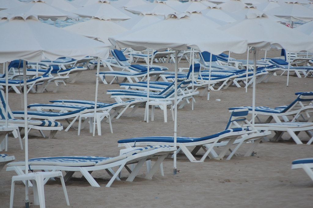 Chairs and can canopies at Main Beach, Lindos