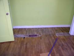Damaged oak floor before