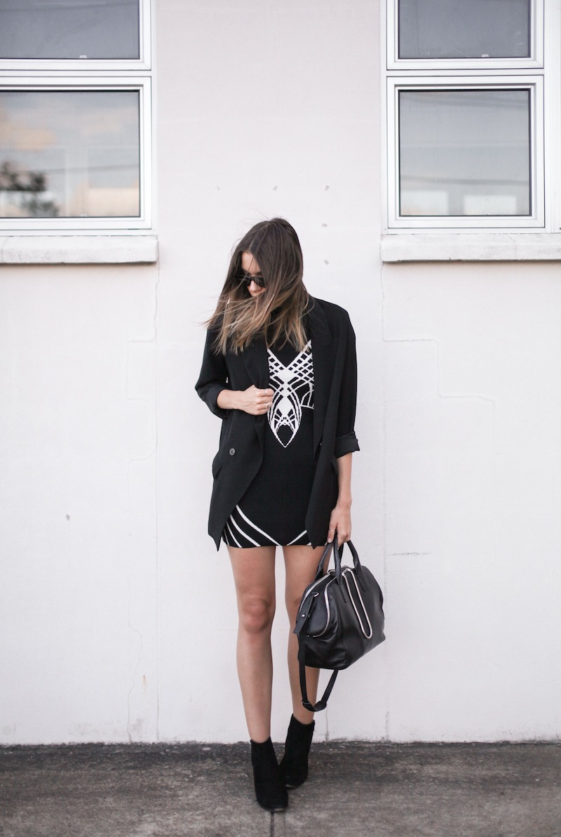 modern legacy fashion blog australia street style blessed are the meek architect funnel neck dress zara boyfriend blazer tony bianco ankle boots alexander wang chastity chain bag all black monochrome (1 of 6)