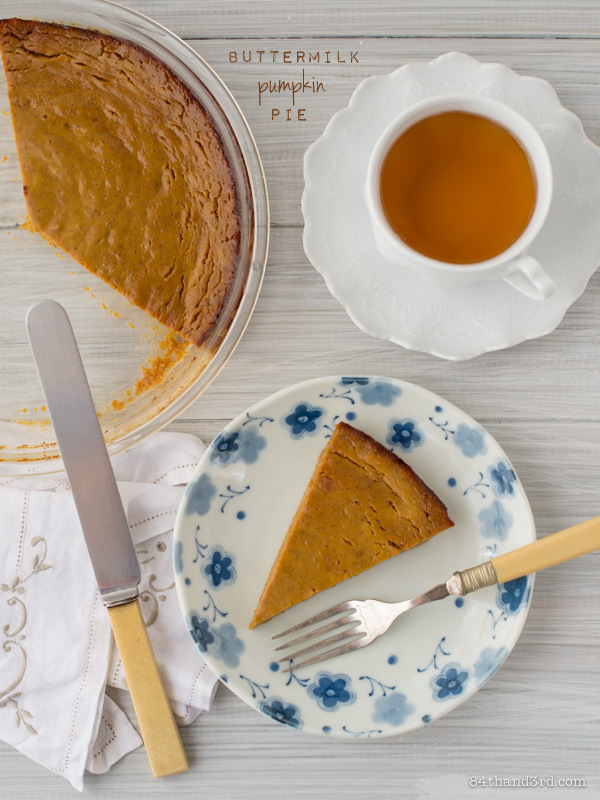 Buttermilk Pumpkin Pie for Pi Day